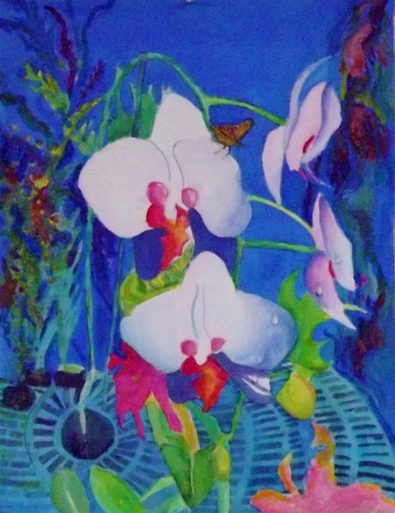"""White orchid"" original fine art by Elizabeth Current"