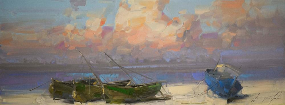 """Boats on the Shore Original oil painting Signed with Certificate of Authenticity"" original fine art by V Yeremyan"