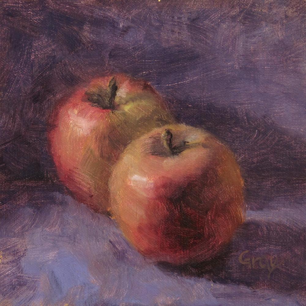 """Two Apples in Purple"" original fine art by Naomi Gray"