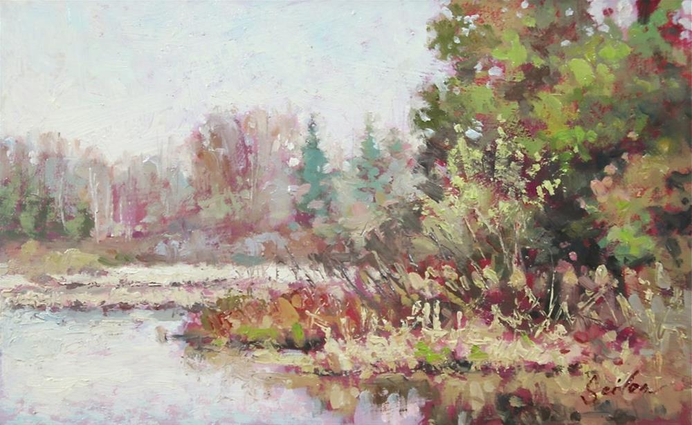 """Early Fall Mill Pond"" original fine art by Larry Seiler"