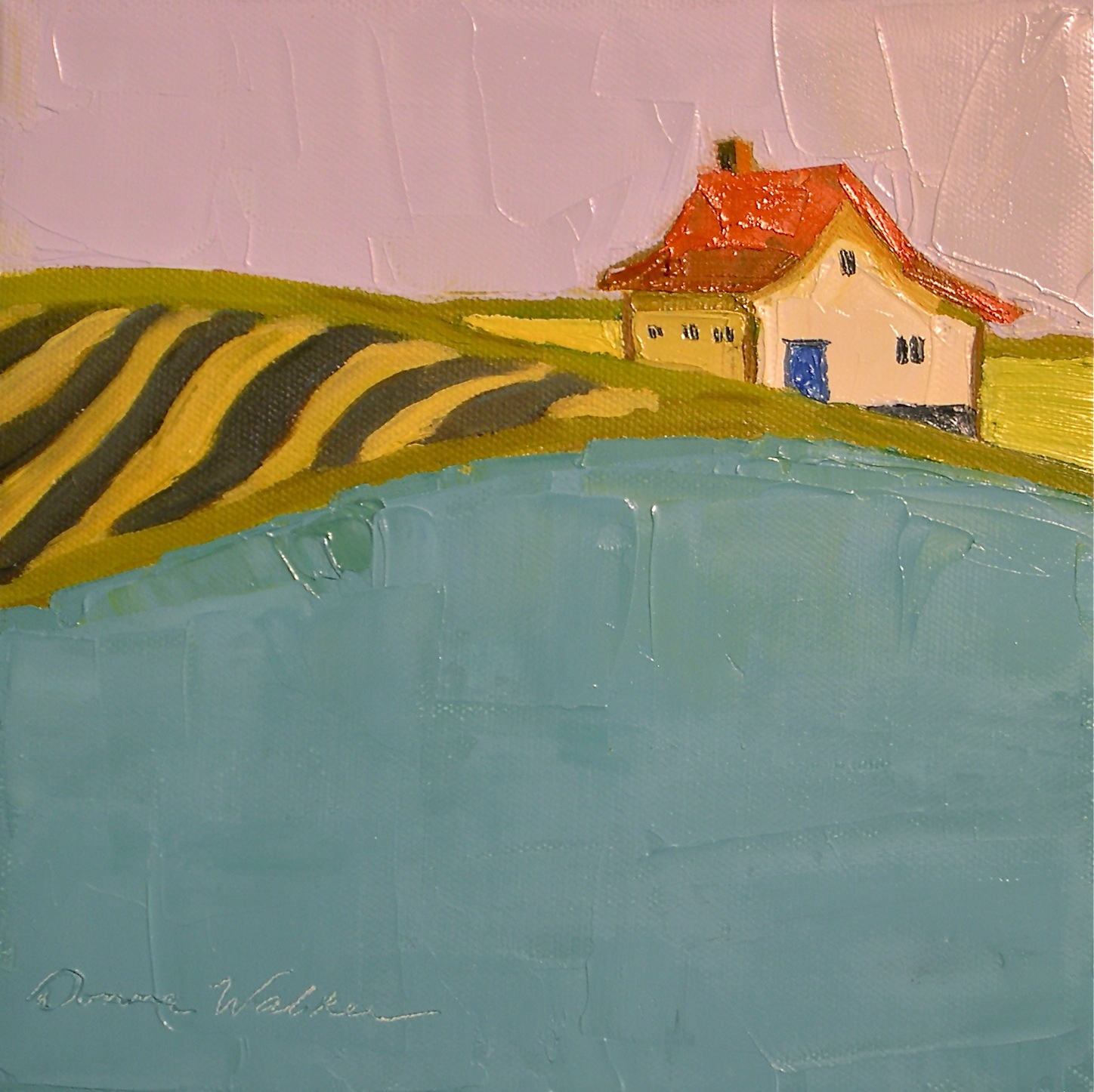 """Striped Fields & Aqua II"" original fine art by Donna Walker"