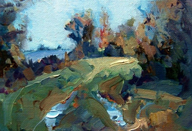 """Puddled Pathway"" original fine art by Anne Wood"