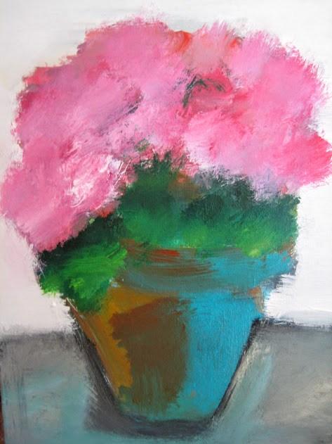 """Pink Flowers"" original fine art by N. Lorraine"