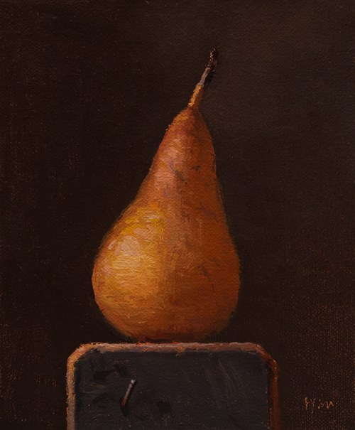 """Bosc Pear on a Wood Block  (+ a Museum visit yesterday)"" original fine art by Abbey Ryan"