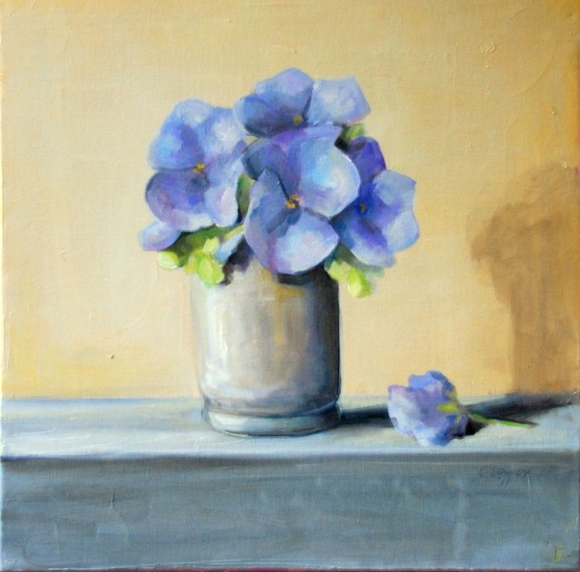 """Blue Pansies"" original fine art by Christina Dowdy"