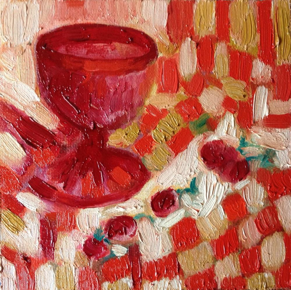 """Red glass"" original fine art by Monica Pinotti"