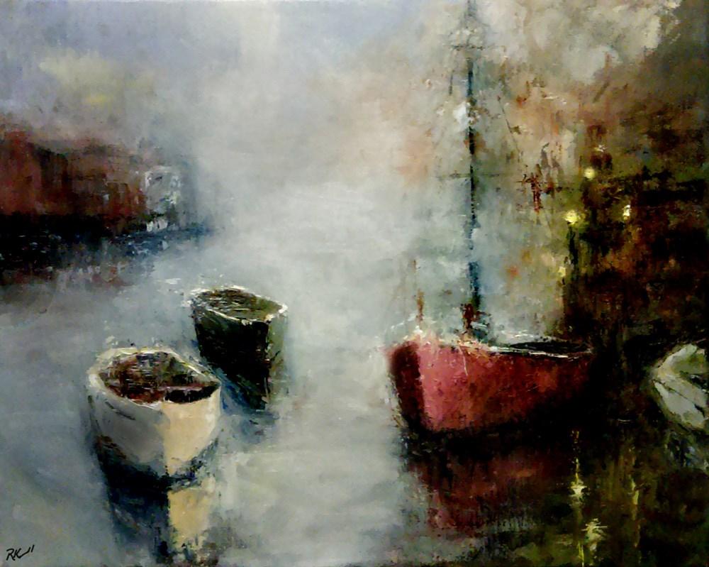 """Three Boats in the Bay"" original fine art by Bob Kimball"
