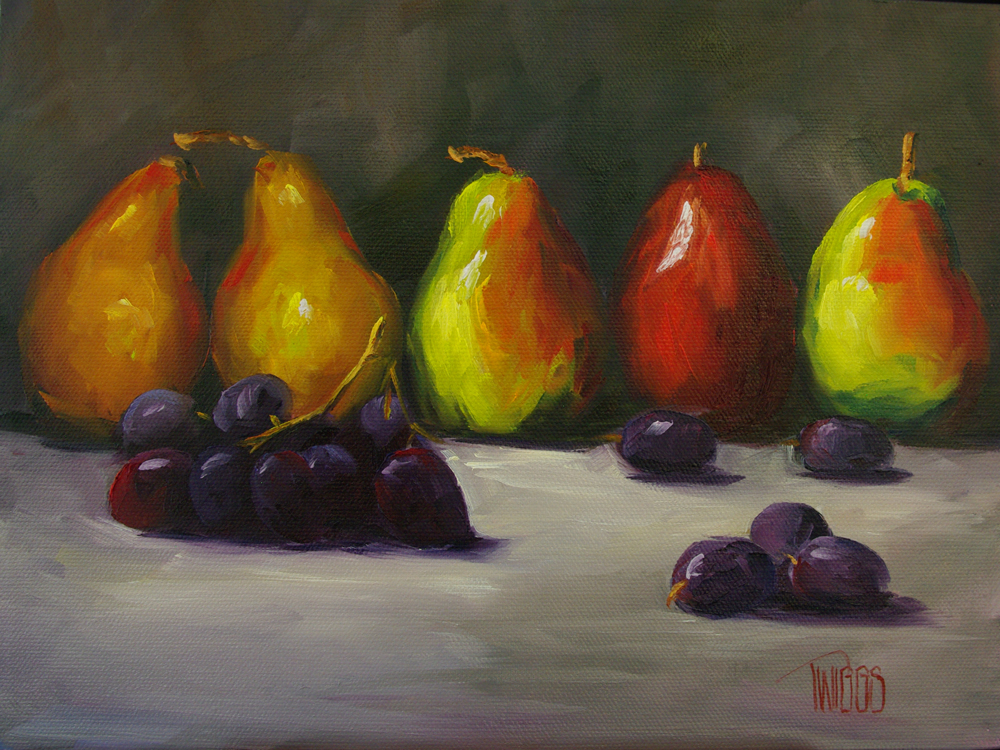 """Pear Line Up"" original fine art by Lori Twiggs"