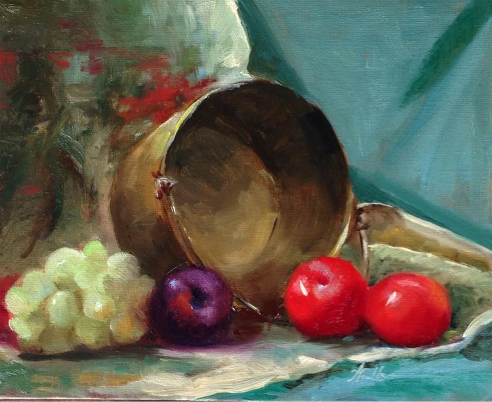 """Brass with Red and Purple Plums and Grapes"" original fine art by Dorothy Woolbright"