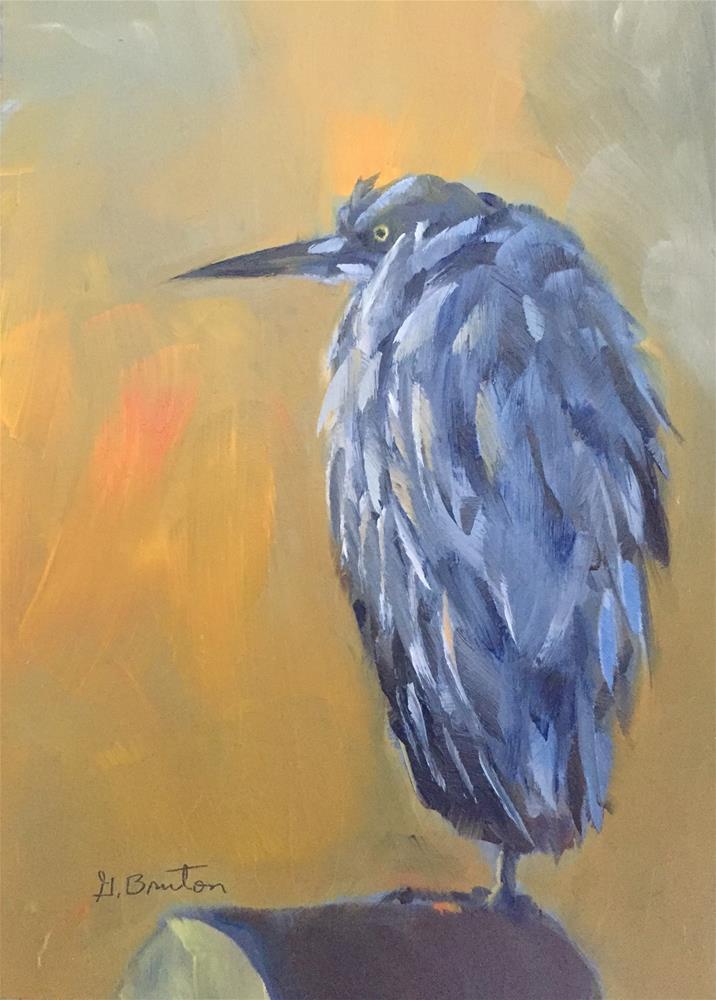 """Morning Heron"" original fine art by Gary Bruton"