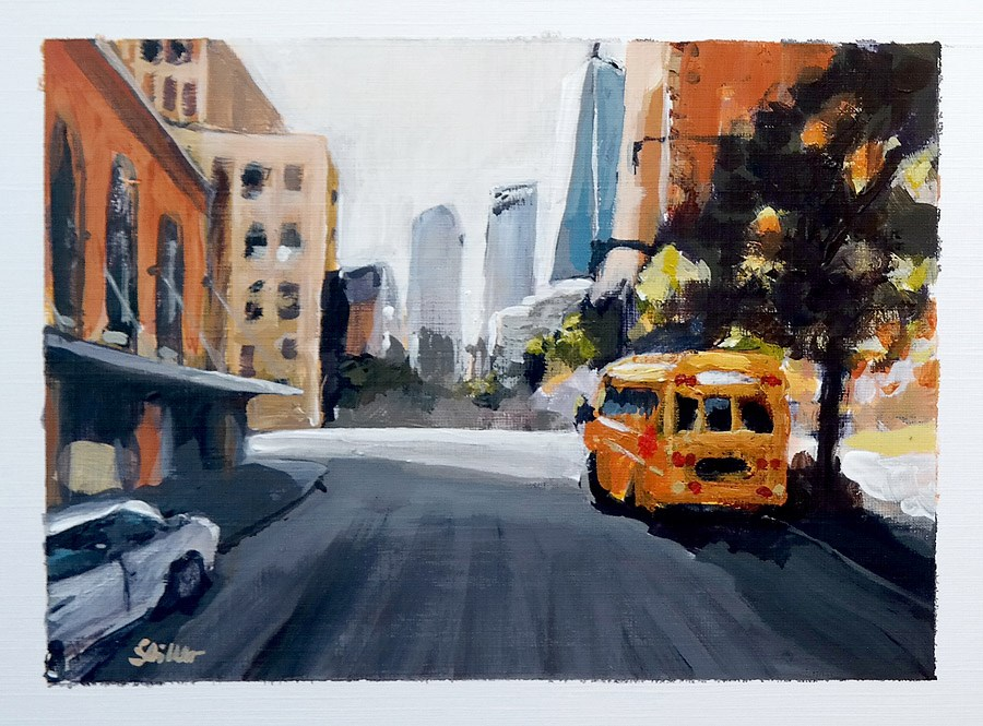 """1800 Postcard of NYC Streetview 3"" original fine art by Dietmar Stiller"