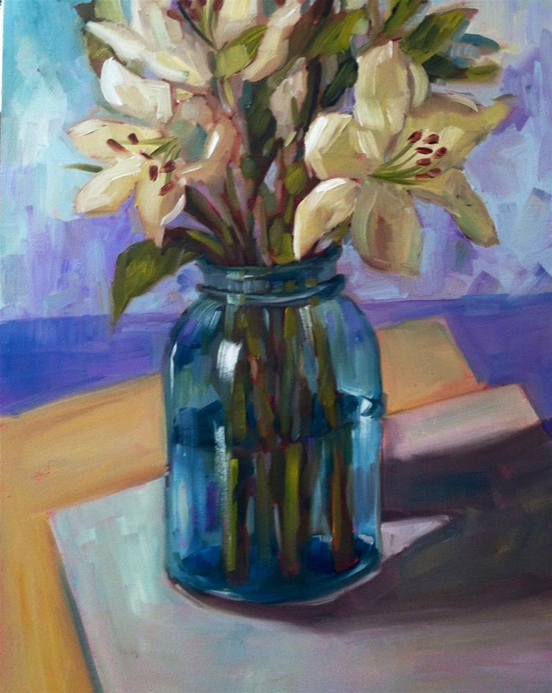 """White Lilies"" original fine art by Libby Anderson"