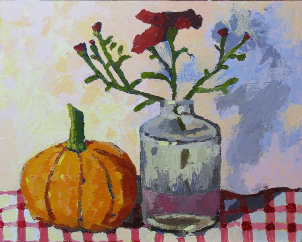 """Pumpkin Mums"" original fine art by Joan Wiberg"