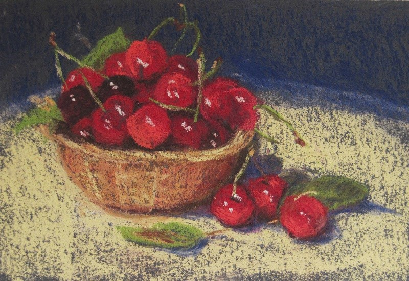 """Cherries"" original fine art by Ruth Mann"
