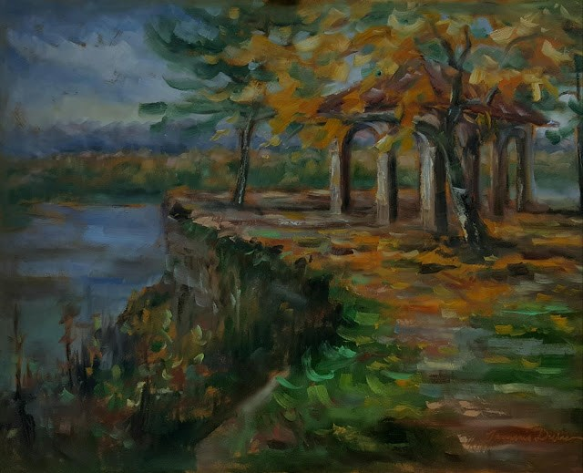 """Fall over the Mississippi River"" original fine art by Tammie Dickerson"