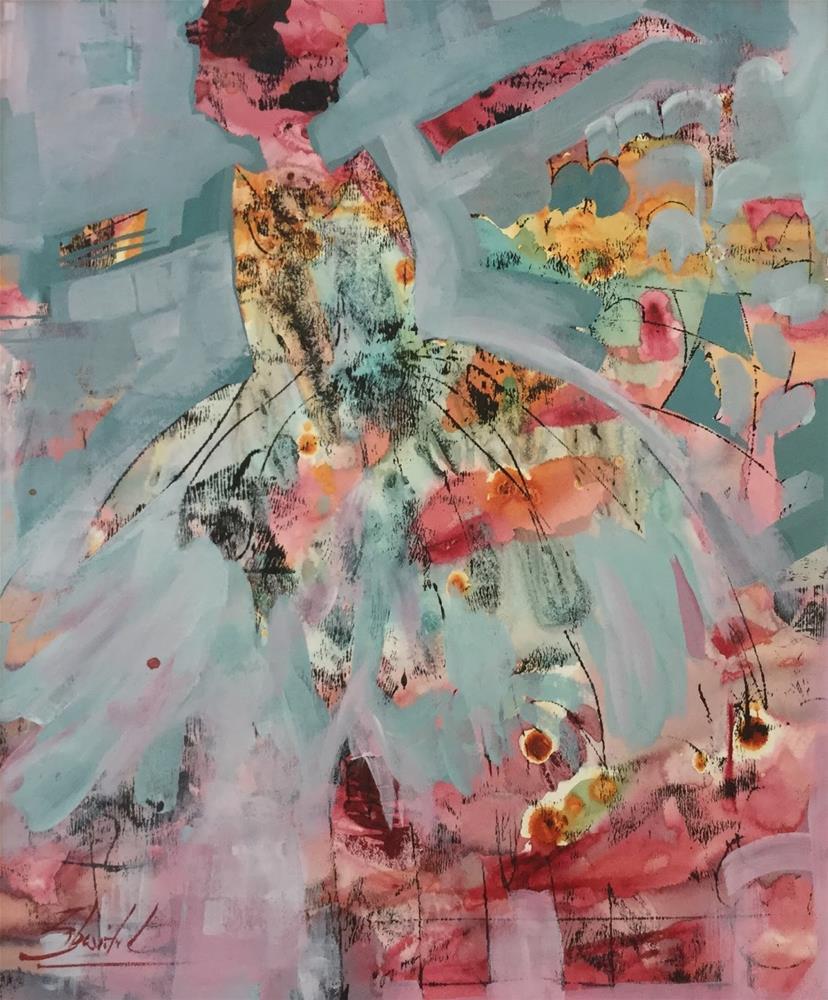 """Contemporary Abstract Ballerina Painting Pink And Blue Tutu artist, Carolyn Zbavitel"" original fine art by Carolyn Zbavitel"