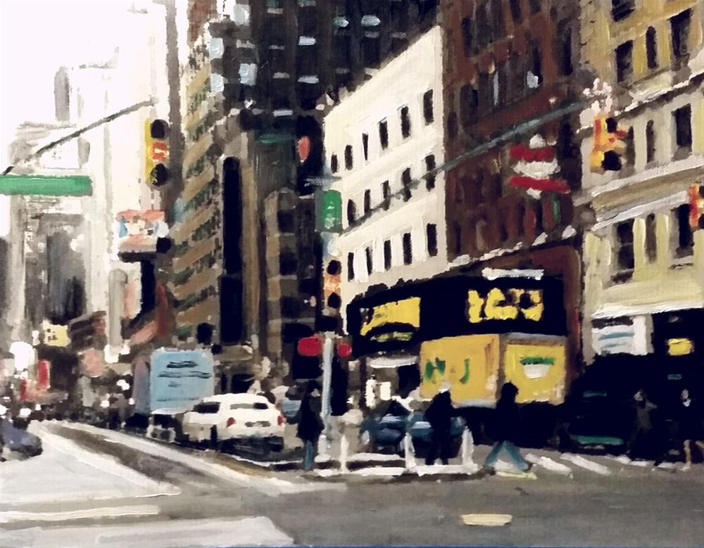 """54th Street (10.5 x 8.5 oil on canvas sheet - no frame)"" original fine art by Ramon DelRosario"