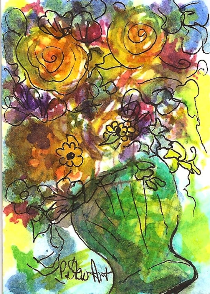 """ACEO: Tipsy Vase of Folk Art Flowers Watercolor and Pen, Loose Illustration"" original fine art by Penny Lee StewArt"