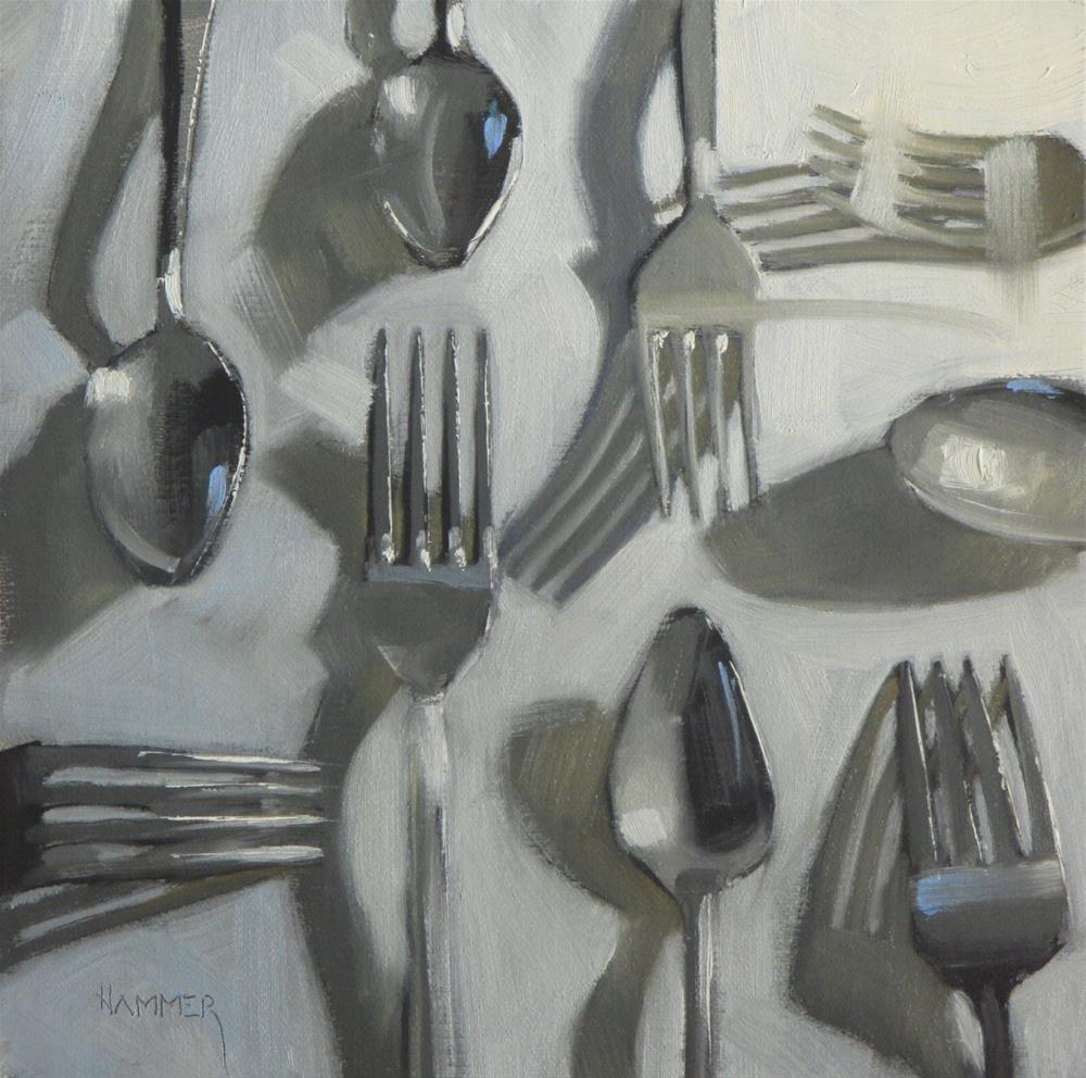 """Forks 'n Spoons  8in x 8in  oil"" original fine art by Claudia Hammer"