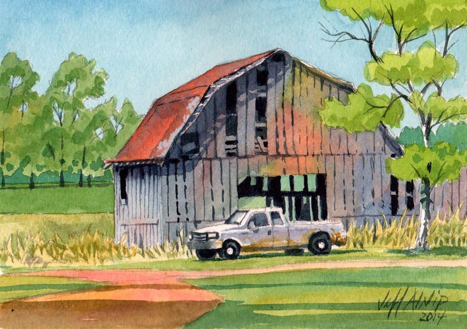 """Barn and Truck"" original fine art by Jeff Atnip"