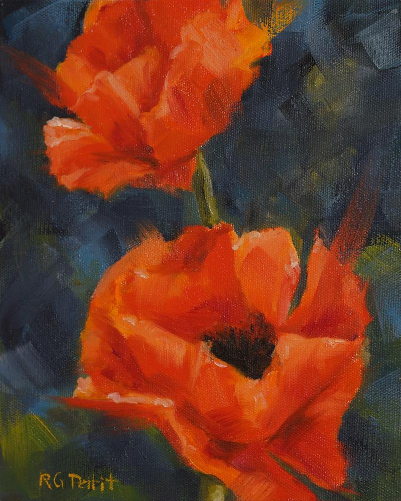 """2 Poppies"" original fine art by Rhea  Groepper Pettit"