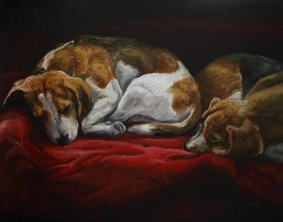 """""""Sleeping Beagles"""" original fine art by Sue Deutscher"""
