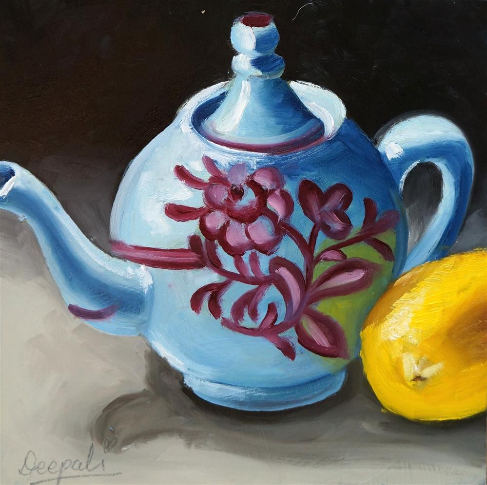 """Teapot with Lemon"" original fine art by Dipali Rabadiya"