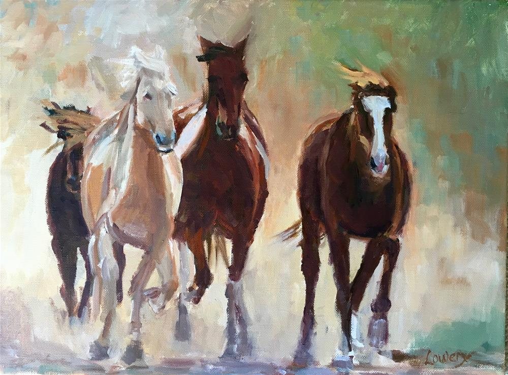 """Mustangs"" original fine art by Wanda Lowery"