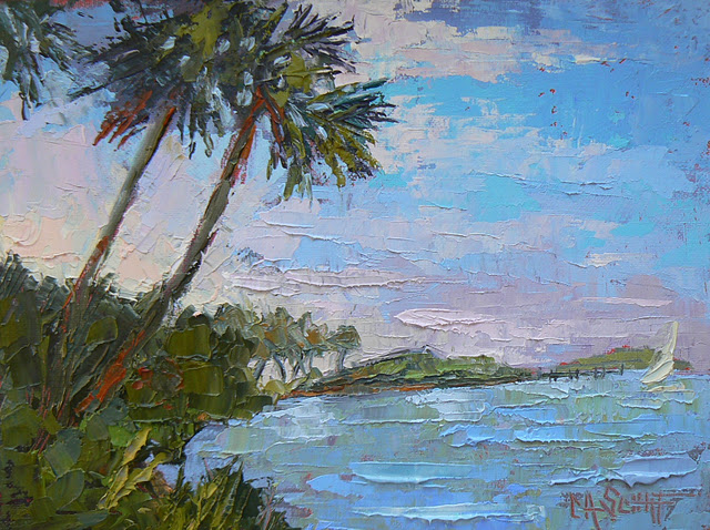 """Tropical Landscape Blue Lagoon 6x8"" original fine art by Carol Schiff"