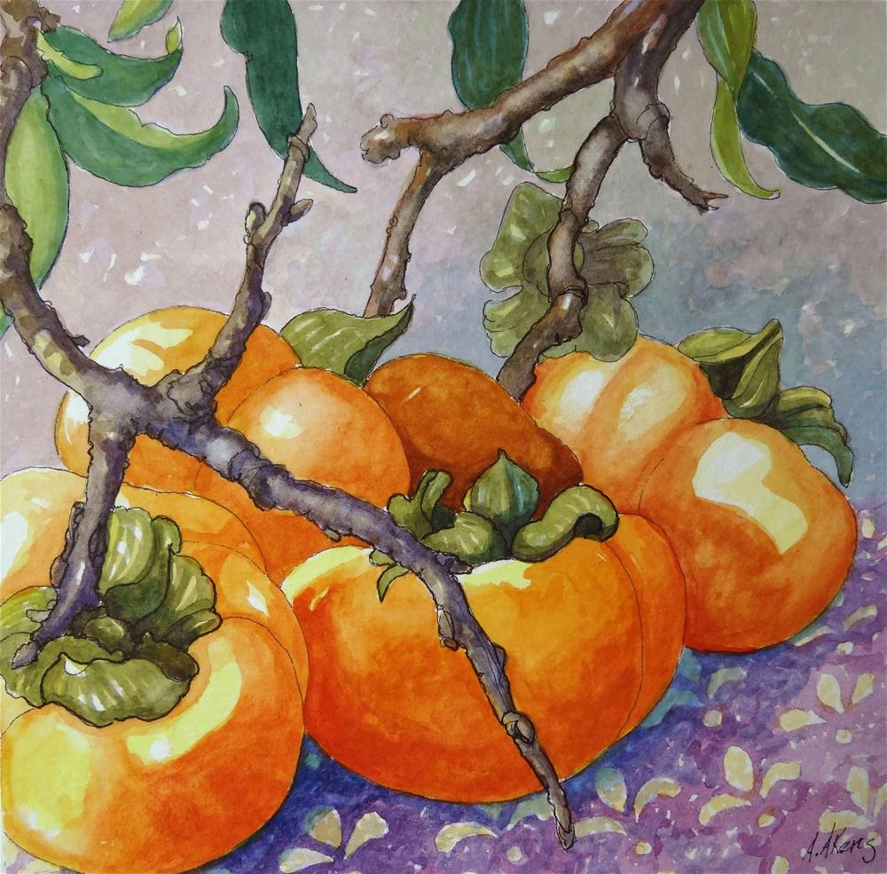 """Persimmons Still on the Branch"" original fine art by Alida Akers"
