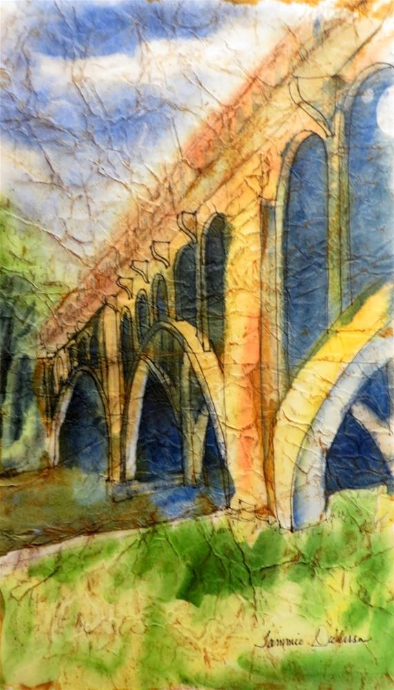 """Benton Bridge in Batik"" original fine art by Tammie Dickerson"
