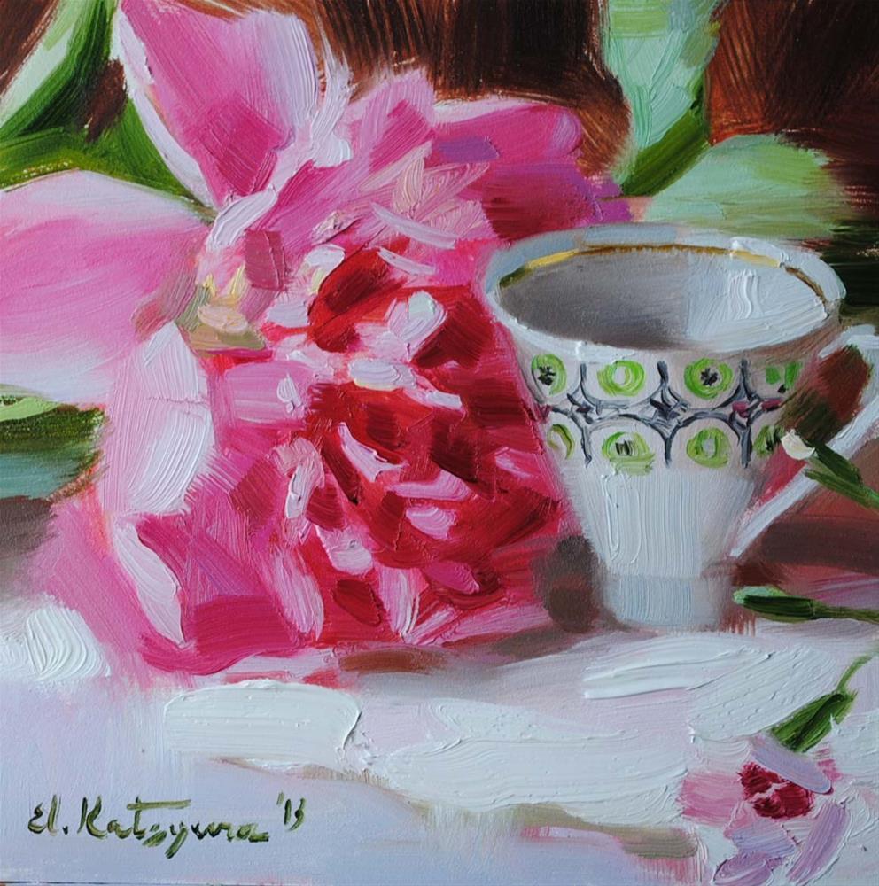"""Cup and Peony"" original fine art by Elena Katsyura"
