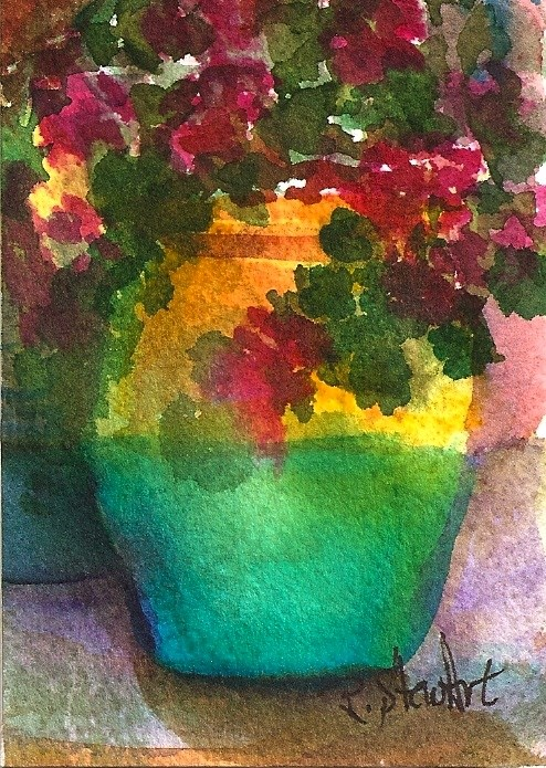 """ACEO Geraniums in a Pot, Original WC SFA (Small Format Art) by Penny StewArt"" original fine art by Penny Lee StewArt"