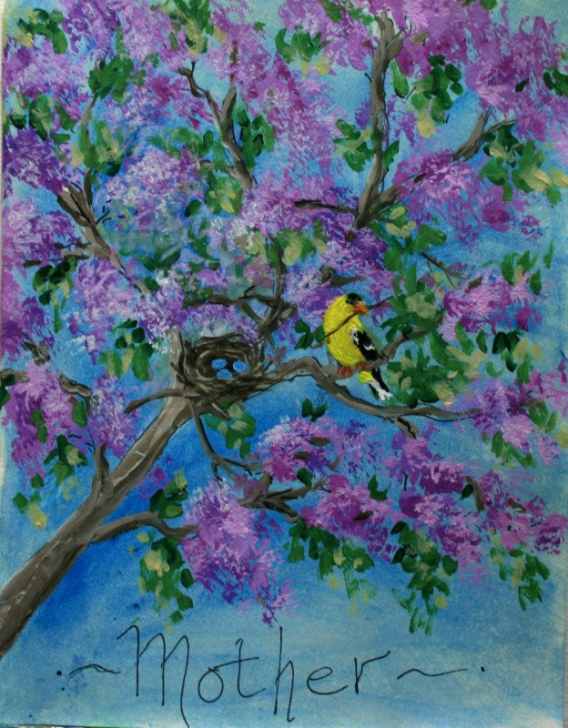 """Momma Bird"" original fine art by Jean Nelson"