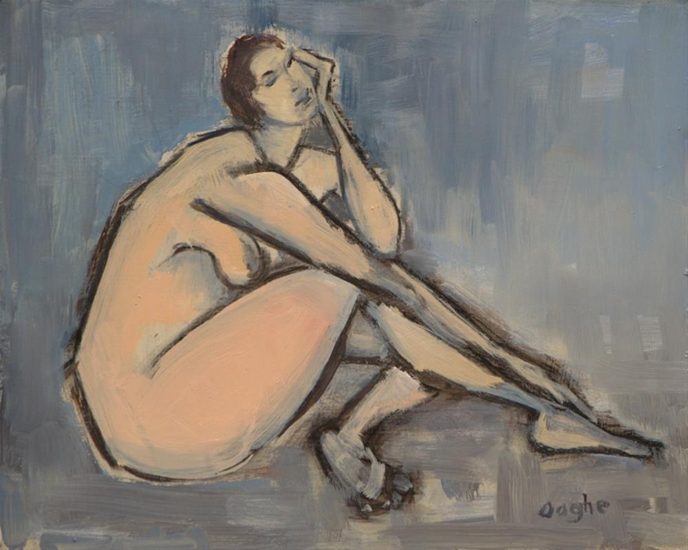 """Nude on Blue"" original fine art by Angela Ooghe"