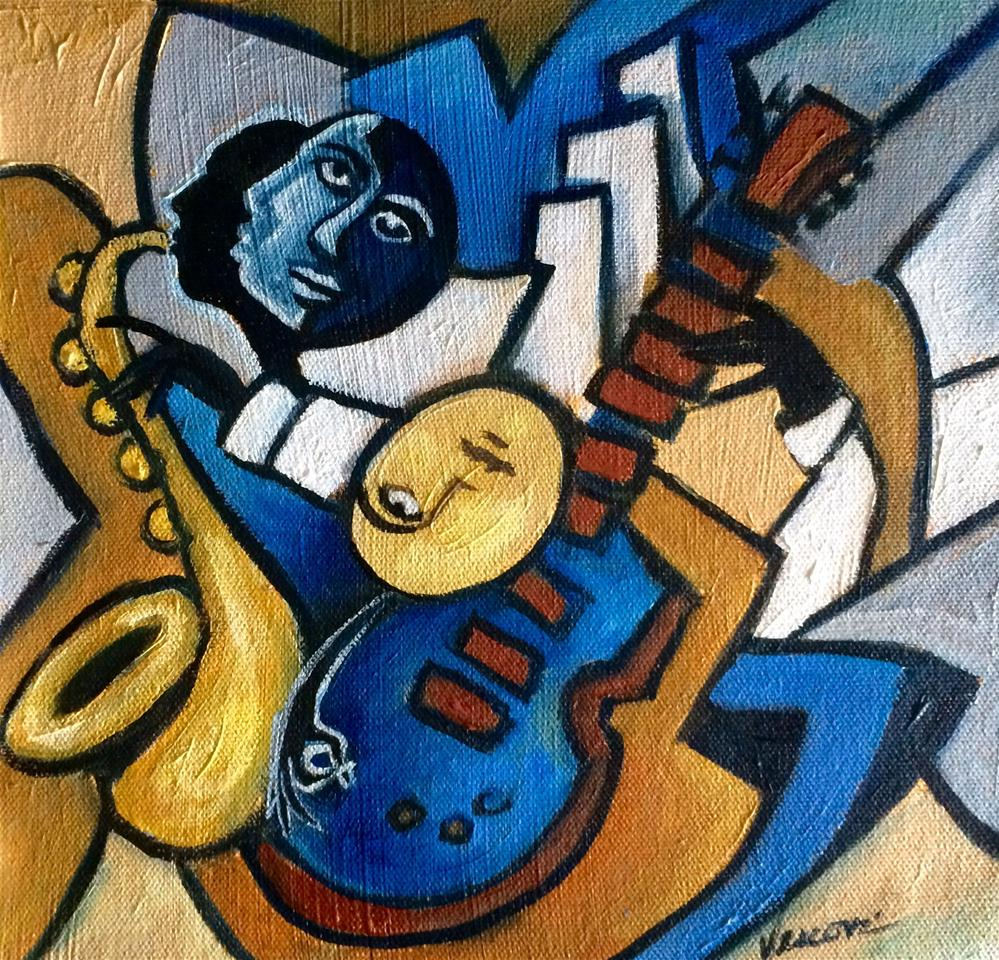 """Le Guitare Bleue"" original fine art by Valerie Vescovi"