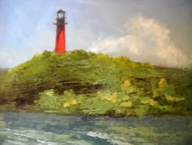 """Jupiter Lighthouse as seen from the Square Grouper"" original fine art by Carol Schiff"