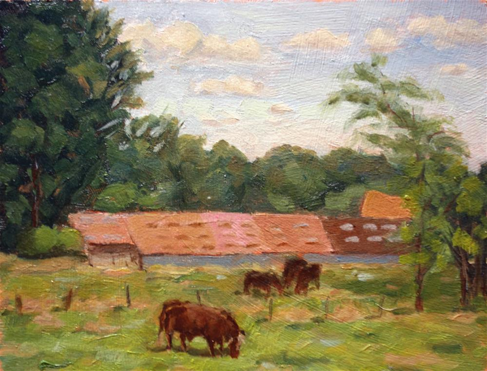"""""""Cattle Grazing, en plein aire"""" original fine art by Daniel Fishback"""