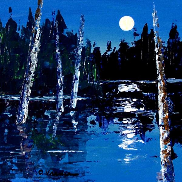 """Moonlit Trees"" original fine art by Anna Vreman"