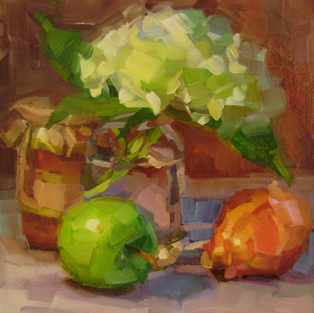 """Hydrangea with Apple"" original fine art by Holly Storlie"