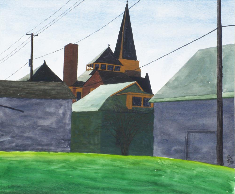 """Church & Garages"" original fine art by Greg Arens"