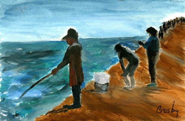 """Jetty Fishing"" original fine art by Donna Crosby"