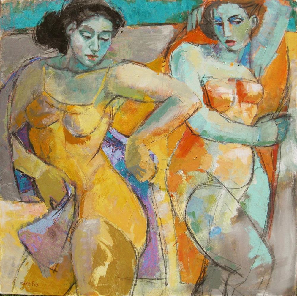 """Time To Go, two women at beach, ocean, figuration, swimmers, females, woman art, contemporary figura"" original fine art by Marie Fox"
