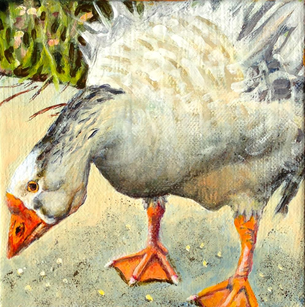 """Even a Goose Eats Scraps"" original fine art by Debbie Yacenda"