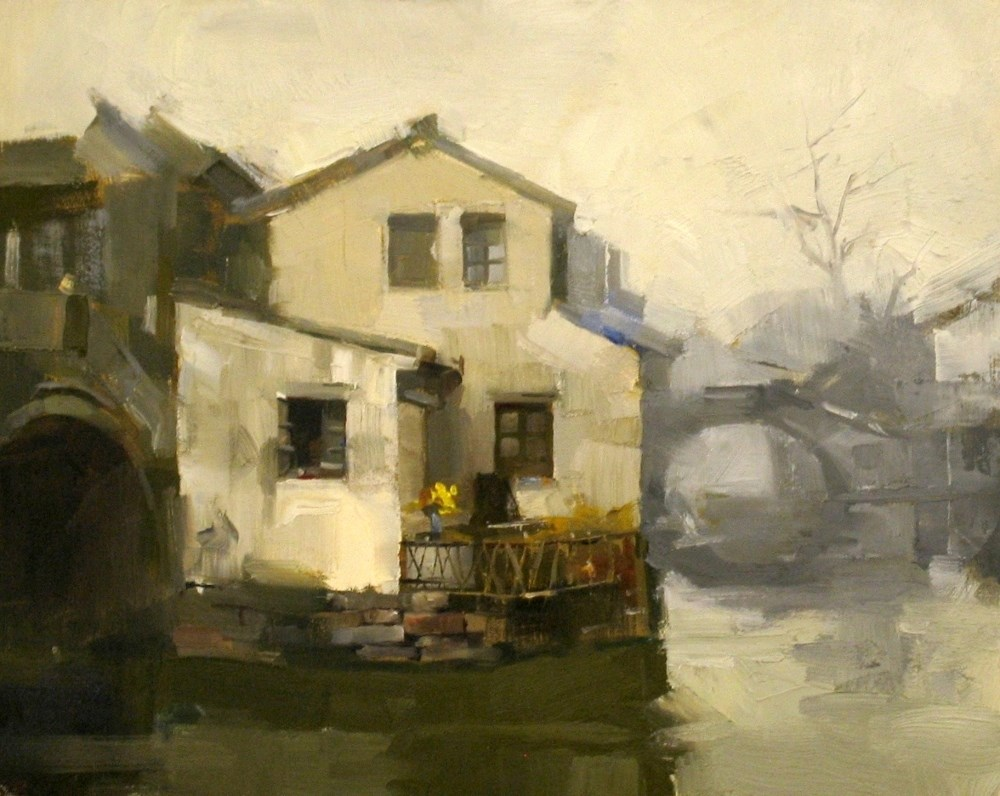 """Living by the Water"" original fine art by Qiang Huang"