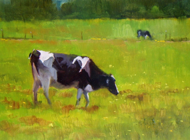 """LaConnor Cows  cows in the landscape, oil painting"" original fine art by Robin Weiss"