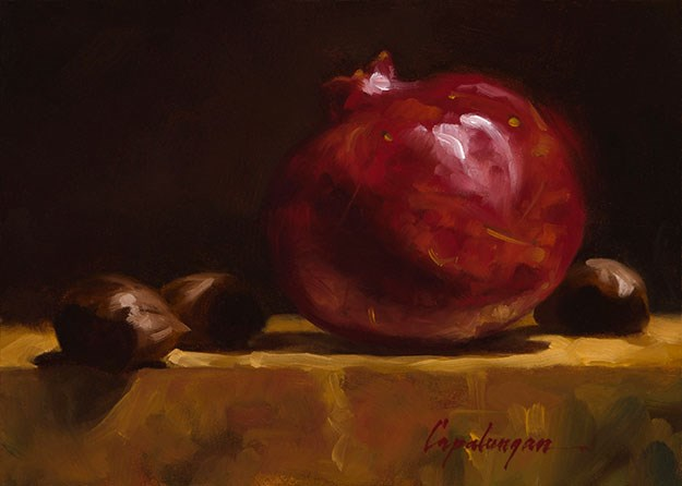 """Pomegranate And Chestnuts"" original fine art by David Capalungan"
