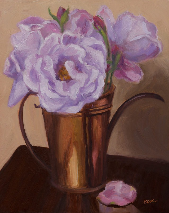 """Peonies in Mom's Copper Pitcher"" original fine art by Jana Bouc"