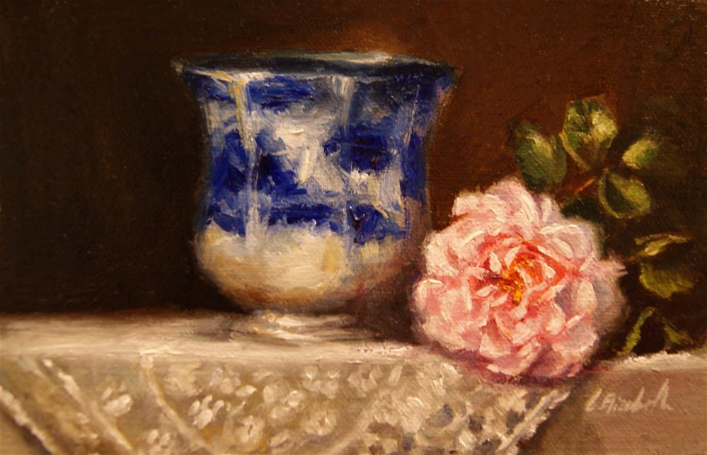 """Flow Blue Cup and La-tour Rose,  Oil on 4x6 Linen Panel"" original fine art by Carolina Elizabeth"