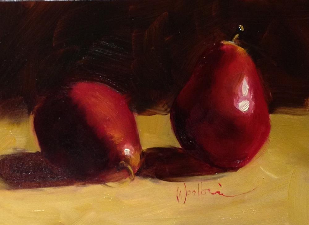 """Red Pears"" original fine art by Dorothy Woolbright"